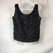 Vintage Top 1950s Heavily Beaded Sequin Sleeveless Black Hong Kong Fringe L/Xl E