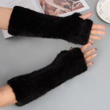 Black Brown Knit Fur Gloves Fingerless Glove Warm Arm Warmers Mittens 30cm
