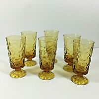 Vintage Drinking Glasses x6 textured bark crinkle glass gold in colour tumblers