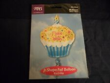 Fun Novelty Foil Balloons Make A Wish CupCake 18in School Home Party ~Free Gifts