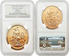 Peru 1965 Seated Liberty 100 Soles Gold NGC MS-64