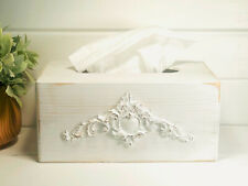 white kleenex box - tissue box- tissue box covers - fleur de lis - shabby chic