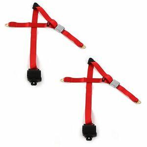 Desoto 1946 - 1961  Airplane 3pt Red Retractable Bucket Seat Belt Kit - 2 Belts