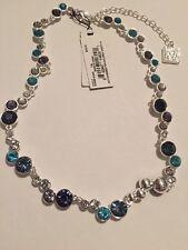 $45 Anne Klein Blue Stone Silver Tone Choker Necklace A106