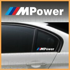 2pcs BMW M Power MOTORSPORT WINDOW BMW STICKERS DECALS GRAPHIC 15cm x 2cm WHITE