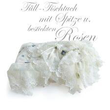 TISCHTUCH Tischdecke BESTICKT Rosen Röschen TÜLL SPITZE 156x156 cm Shabby Chic