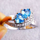 Fashion Women Heart Blue White Gemstone Jewelry Silver Ring Size 6 7 8 9