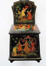 Exquisite Vintage Russian Lacquer Box with 5 Hand Painted Scenes shaped as chair