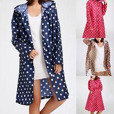 Damen Mode Punkt Lange Regenmantel Regenschutz Wasserdichte Kleidung Regenjacke
