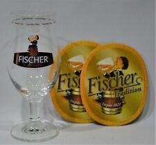 FISCHER Bière 1 verre 25 cl Alsace Tradition + 2 Sous bocks neuf
