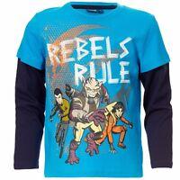 DISNEY t-shirt STAR WARS 6 8 ou 12 ans manches longues bleu NEUF