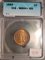 1883 INDIAN HEAD CENT S-1 1 IN NECK ICG MS64+ RD NICE RED COLOR ATTRACTIVE COIN