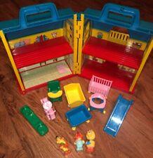 Vintage Illco Jim Henson Sesame Street Doll House Original Furniture & 3 Figures