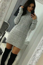 New Women Ladies Roll Polo Neck Cable Knitted Long Sleeve Jumper Sweater Dress