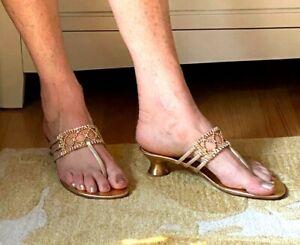 "Stuart Weitzman VTG 90's Gold Metal ""Fencing"" Spool Thong Sandals 7.5M Spain NIB"