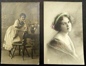 Young German Ladies 2 Antique German Postcards 1911