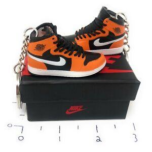 Hand Painted Retro AJ1 High Black and Orange OG Pair 3D Mini Shoe Keychains