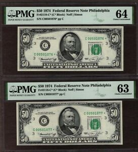 #2 Consecutive1974 $50 FRN Phila. STAR Notes, PMG 63 & 64, NICE!!