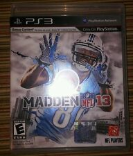 Madden NFL 13 - Sony Playstation 3 PS3 - EA Sports 2013  FOOTBALL GAME