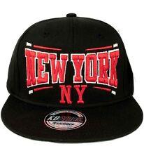 KB Ethos Mens Boys New York NY Snapback Caps Baseball Hip Hop Truckers Black Red