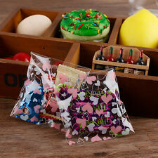 100pcs Diy Dream Heart Cookie Bread Candy Self-Adhesive OPP Party Food Gift Bag