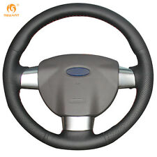 Black Genuine Leather Steering Wheel Cover Wrap for Ford Focus 2 2005-2011