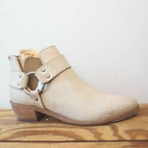 8 - FRYE Womens Off-White Ray Harness Back Zip Ankle Boots w/ Box 0303RT