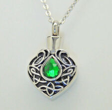 Green Tear Cremation Urn Necklace || Ashes Keepsake || May Birthstone Memorial