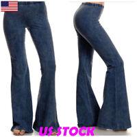 89a5578377f USA Womens Flare Bell Bottom Denim Pants Mid Waist Slim Bootcut Jeans  Trousers