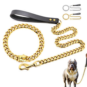 Heavy Duty Dog Chain Collar and Leash SET Stainless Steel Choke Cuban Link Gold