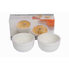 Trento 2pc White Oven Safe Ceramic Ramekins Serving Dishes Dips Sauce Dish
