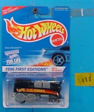C111 HOT WHEELS 1996 FIRST EDITIONS RAIL RODDER #370 BLACK RED DECAL NEW ON CARD