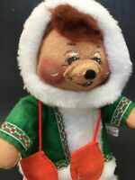 "Annalee 12"" Standing Eskimo Bear Green Coat Mittens 1988 Vintage Christmas Doll"