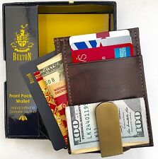 Buxton® USA Hunt Money Clip Front Pocket Wallet Card Case New w/Tag In Box Brown