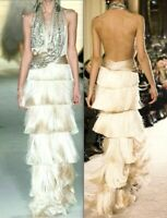 New $7,895 Marchesa Fringe Embellished Feather Dress Long Runway Gown IT 44 US 8