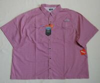 New HABIT Red Check 4XL Shirt Button Down Pockets Performance Vented S/S UPF 40+