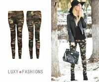 LADIES/WOMENS CAMOUFLAGE CAMO ARMY PRINT TROUSERS PANTS LEGGINGS PLUS SIZES 8-18