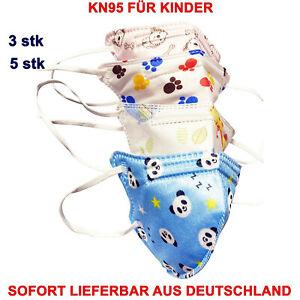 5x KN95 Einweg Kinder Mund Nasen Maske Ohne Ventil 5-Lagig Schutzmaske