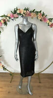 Sequin Black Dress Size 10 All Over Sequins Wiggle New DZ53 Midi