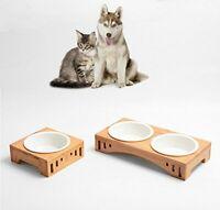 Elevated Pet Dog Cat Feeding Bowls Bamboo Stand Holder Raised Ceramic Feeder