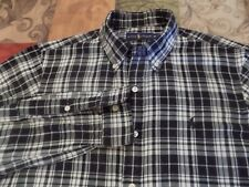 RALPH LAUREN BLACK & WHITE PLAID SHIRT BUTTON DOWN COLLAR, CHEST LOGO SIZE M