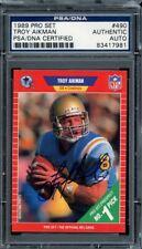 1989 Pro Set Football #490 Troy Aikman Auto Autograph PSA DNA