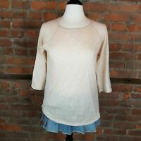 Orvis Women's Lightweight Knit Top Tan 3/4 Sleeves Size M