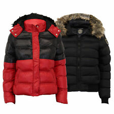 Ladies Short Bubble Jacket Brave Soul Womens Coat Padded Bomber Hoodie Fur New
