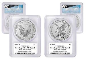 2021 ASE 2-Coin Set Rev PR70 PCGS FDOI (W T-1 & S T-2) T. Cleveland blue eagle
