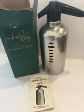 Vintage Chrome 1B Glass Lined Soda King Syphon Sparkling Water bottle art deco