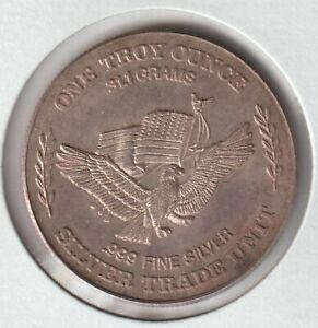 1981 Silver Trade Unit US Strategic Stockpile .999 Pure 1oz round Toned