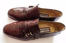 $5800 ARTIOLI Brown Crocodile Leather Monk Strap Shoes 6.5 US 39.5 Euro 5.5 UK