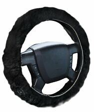 Zone Tech Plush Genuine Sheepskin Stretch On Vehicle Steering Wheel Cover Black
