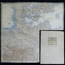 1850's Antique German Empire Folding Military Map of PRUSSIA Germany